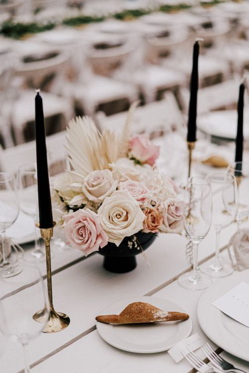Blush Pink and Nude Rose Wedding Flower Decor with Black Candles in Gold Candlesticks