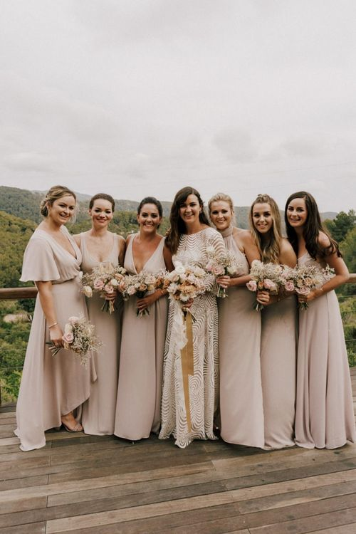 Bridal Party Portrait with Bridesmaids  in Different Blush Show Me Your Mumu Dresses and Bride in Margaux Tardits Wedding Dress