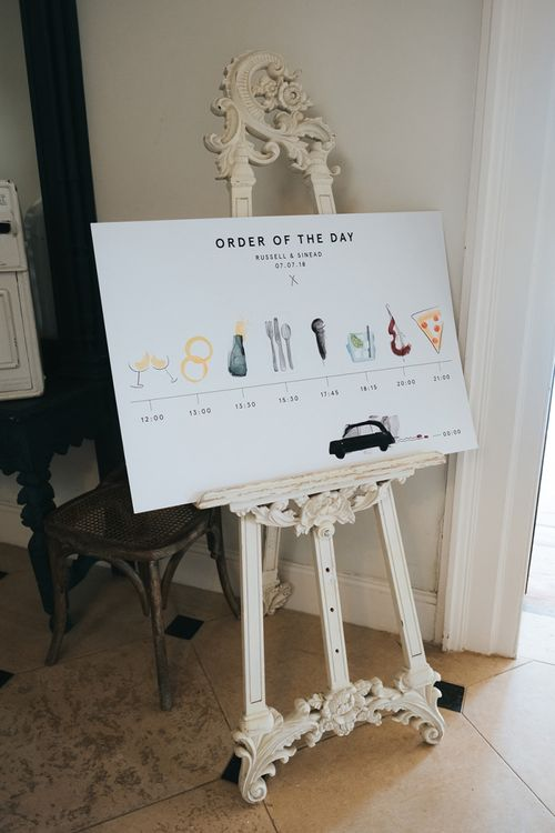 Order of The Day Illustration Wedding Sign on an Easel