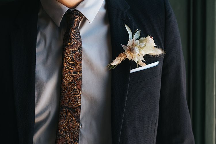Neutral White and Cream Groom's Buttonhole