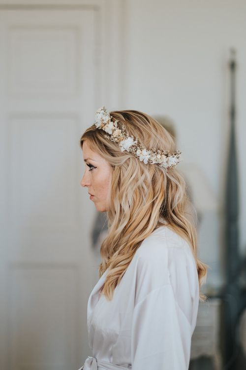 Boho Bride with Wavy Hair and Neutral Flower Crown