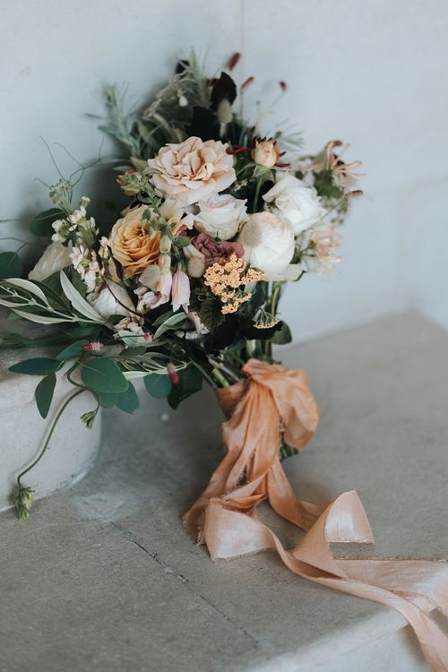 Neutral Wedding Bouquet with Soft Peach and Blush Pink Roses