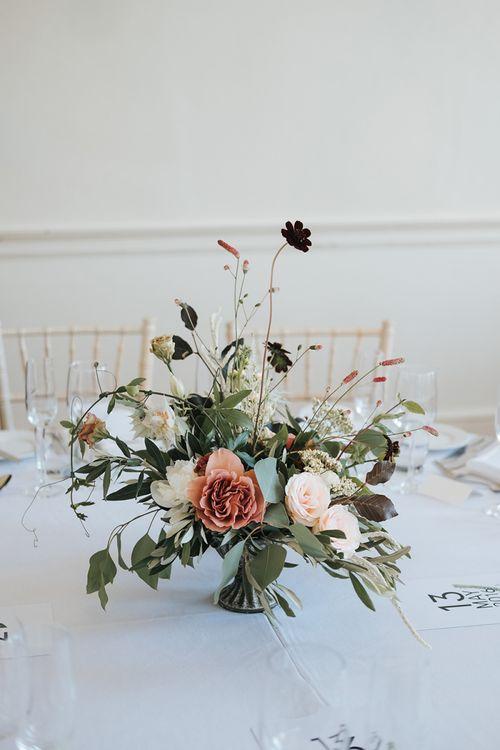 Elegant Floral Centrepiece with Neutral Wedding Flowers
