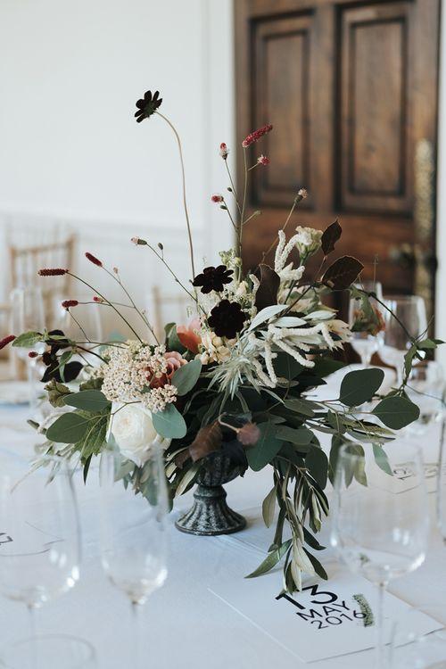 Minimalist Floral Centrepiece with Neutral Wedding Flowers