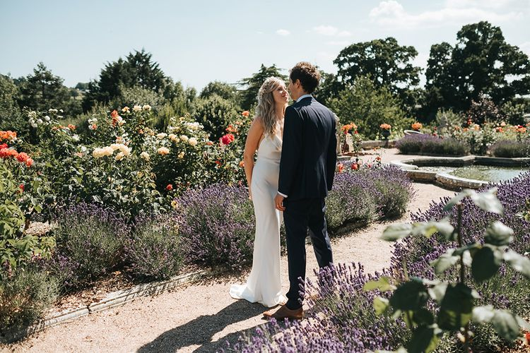 Bride and Groom Portrait in the Beautiful Gardens of  Pynes House, Devon