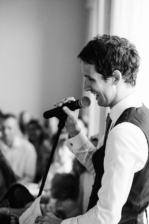 Black and White Portrait of the Groom Giving his Speech