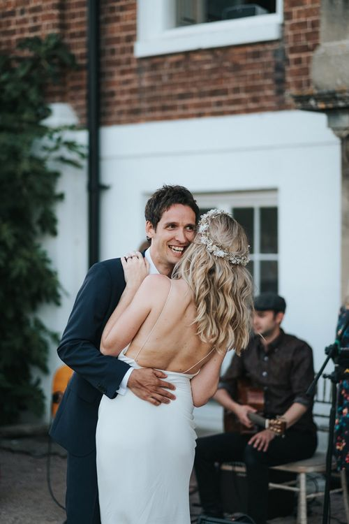 Bride and Groom Outdoor First Dance at Pynes House, Devon