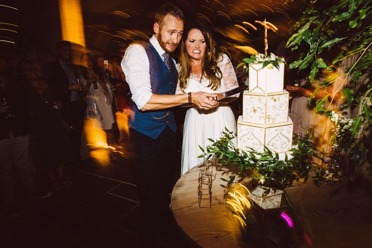 Gold & White Geometric Wedding Cake // Image By Ed Godden Photography