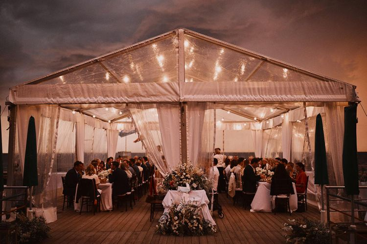 Clear span marquee with fairy lights decor