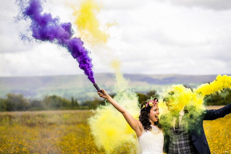 Colourful Smoke Bomb/Flares For Couples Shots At Wedding // Image By Cassandra Lane