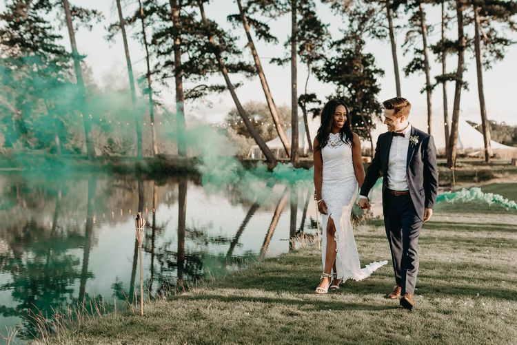 Colourful Smoke Bomb/Flares For Couples Shots At Wedding // Image By Kelsie Low