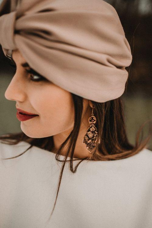 Bronze chandelier bridal ear rings