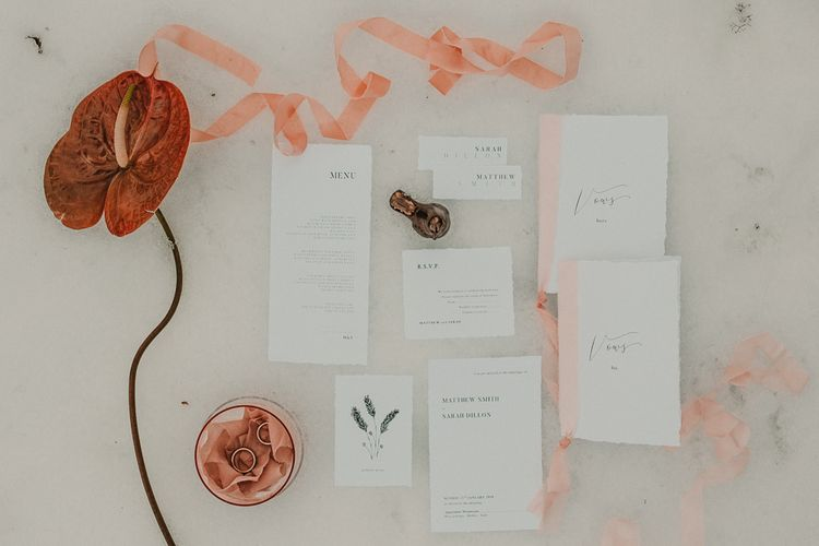 White and peach wedding stationery suit