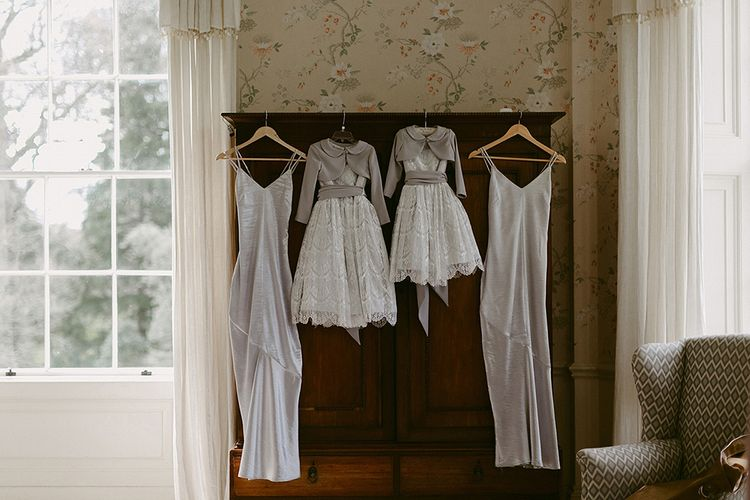 Grey Satin Bridesmaid Dresses and Flower Girl Dresses