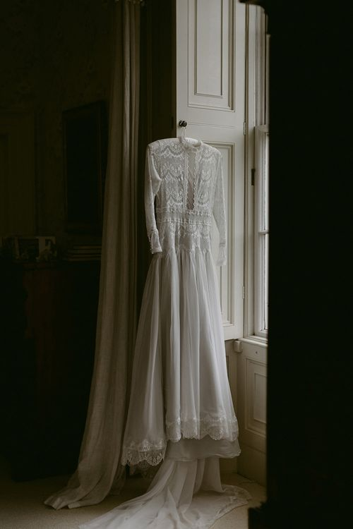 Homemade Wedding Dress with Lace Long Sleeve, Bodice and High Neck