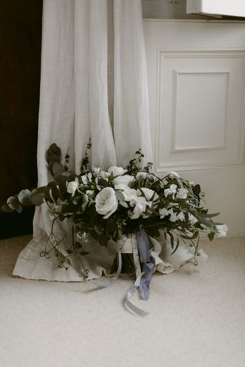 Greenery and White Flower Wedding Bouquet