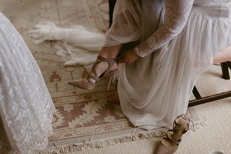 Beige Suede Wedding Shoes