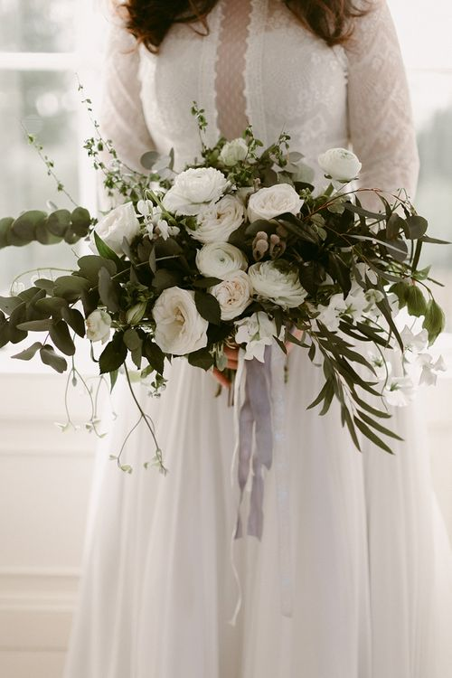 Oversized White and Green Wedding Bouquet with Roses and Ranunculus