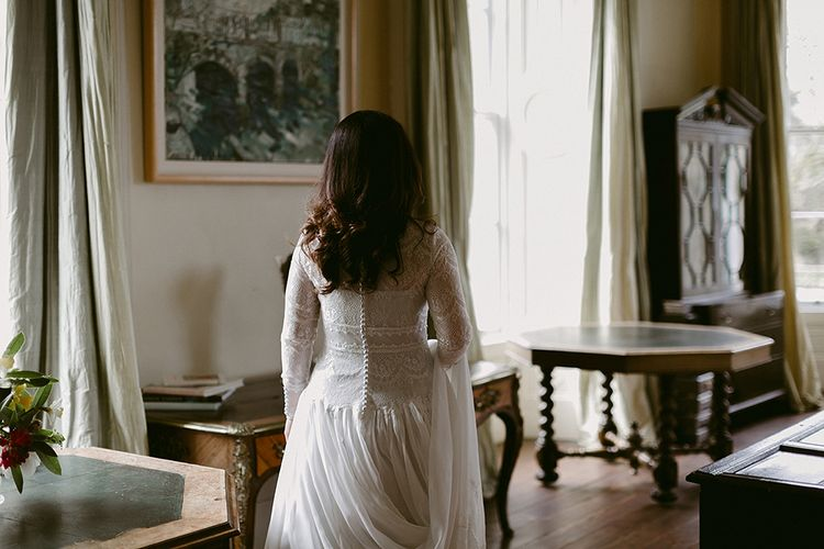 Bride in Homemade Wedding Dress with Full Skirt, Lace Bodice and Long Sleeves