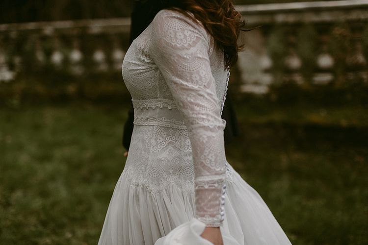 Homemade Wedding Dress with Lace Long Sleeves and High Neck