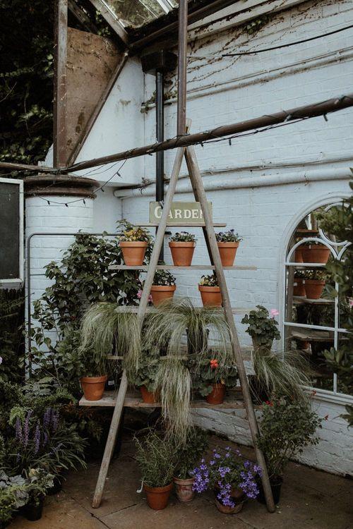 Potted Plant & Step Ladder Wedding Decor   Orange, White & Green Boho Wedding at Clifton Nurseries London    Olivia & Dan Photography