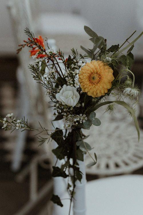 Flower Stem Chair Back Decor   Orange, White & Green Boho Wedding at Clifton Nurseries London    Olivia & Dan Photography