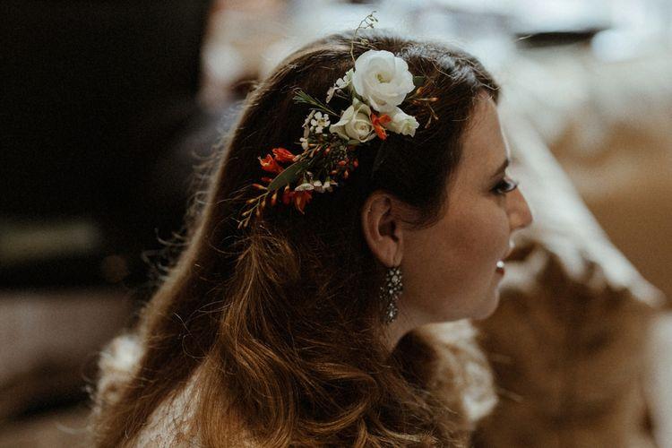 Fresh Flower Bridesmaid Hair   Orange, White & Green Boho Wedding at Clifton Nurseries London    Olivia & Dan Photography