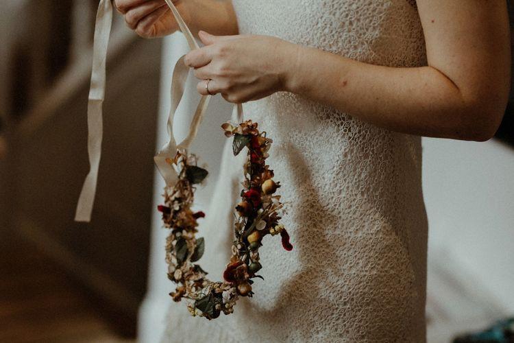 Flower Crown   Orange, White & Green Boho Wedding at Clifton Nurseries London    Olivia & Dan Photography