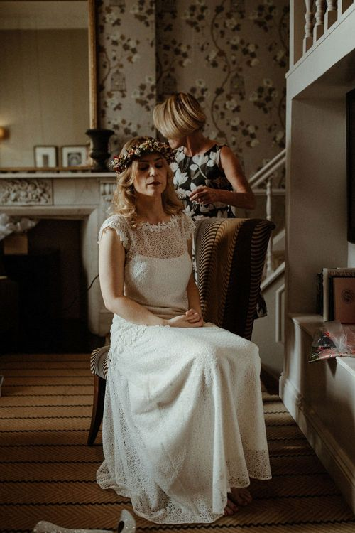 Boho Bride in Lace Sally Lacock Gown with Flower Crown   Orange, White & Green Boho Wedding at Clifton Nurseries London    Olivia & Dan Photography