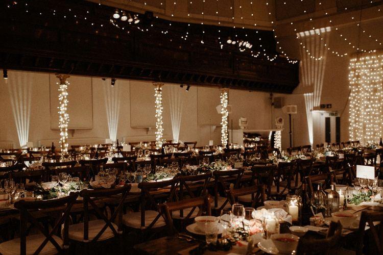 Fairy Lights Reception   Orange, White & Green Boho Wedding at Clifton Nurseries London    Olivia & Dan Photography