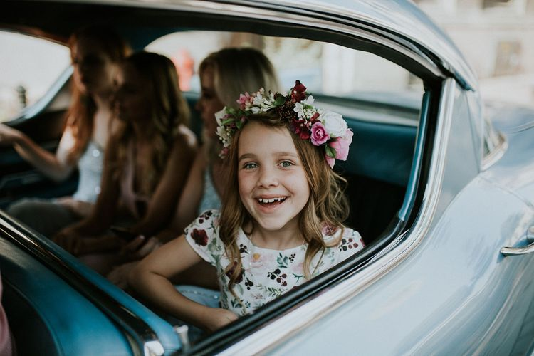 Vintage Blue Cadillac Wedding Car | Flower Girl in Floral Print Dress with Flower Crown | Budapest Wedding with Giant Bridal Bouquet, Tuk Tuks and Cadillac | Jágity Fanni Fotográfus