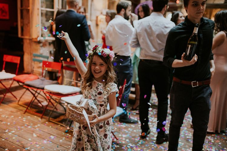 Flower Girl in Floral Print Dress with Flower Crown | Colourful Confetti | Confetti Basket | Budapest Wedding with Giant Bridal Bouquet, Tuk Tuks and Cadillac | Jágity Fanni Fotográfus
