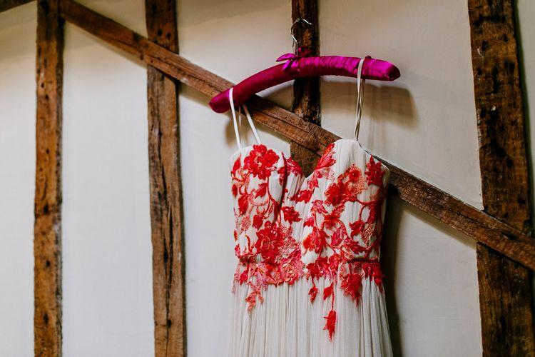Joanne Fleming Design Wedding Dress | Colourful Alternative Winter Wedding at Upwaltham Barns, Sussex | Epic Love Story Photography