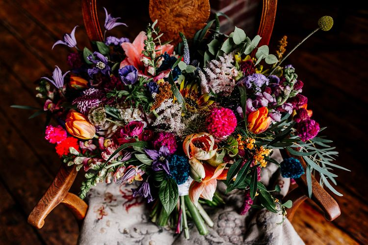Oversized Colourful Bridal Bouquet | Colourful Alternative Winter Wedding at Upwaltham Barns, Sussex | Epic Love Story Photography