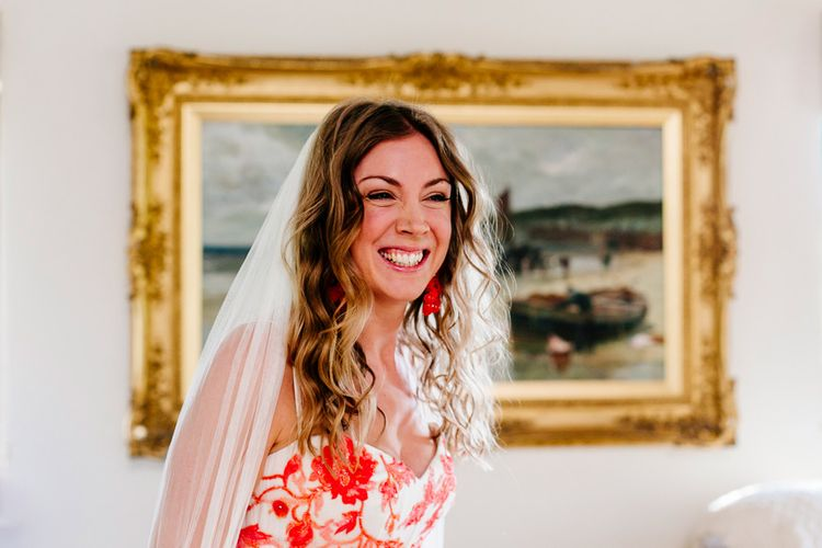 Beautiful Bride in Red & White Joanne Fleming Design Wedding Dress | Colourful Alternative Winter Wedding at Upwaltham Barns, Sussex | Epic Love Story Photography