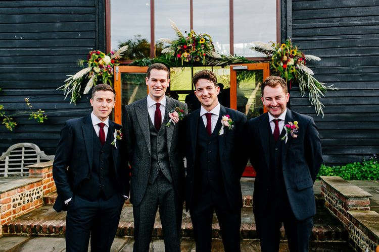Groomsmen in Suit Supply Suits | Colourful Alternative Winter Wedding at Upwaltham Barns, Sussex | Epic Love Story Photography