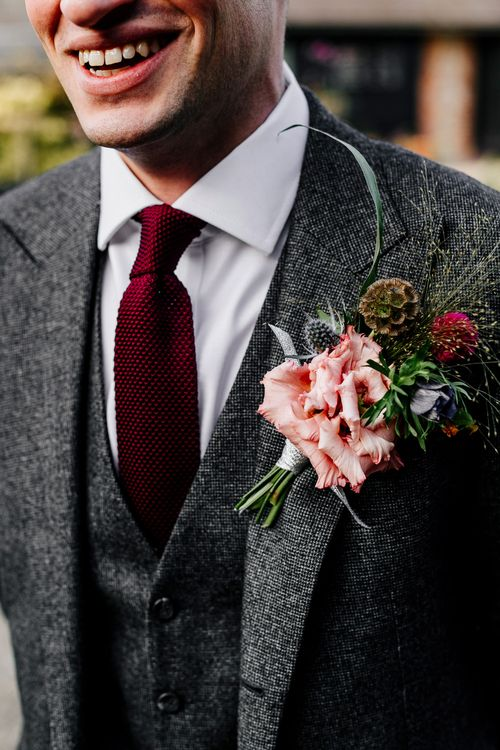 Winter Buttonhole | Colourful Alternative Winter Wedding at Upwaltham Barns, Sussex | Epic Love Story Photography