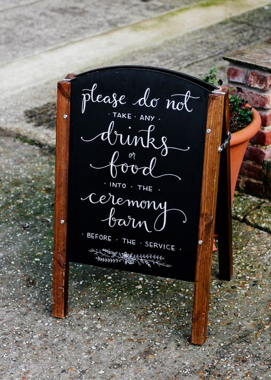 Chalkboard Wedding Sign | Colourful Alternative Winter Wedding at Upwaltham Barns, Sussex | Epic Love Story Photography