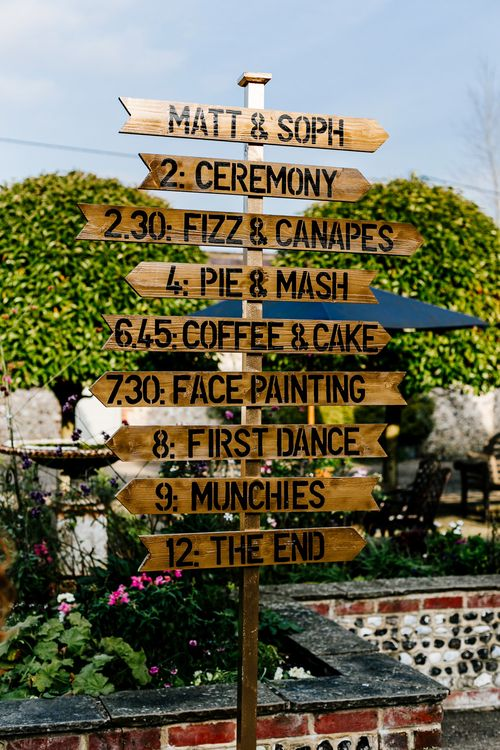 Wedding Sign | Colourful Alternative Winter Wedding at Upwaltham Barns, Sussex | Epic Love Story Photography