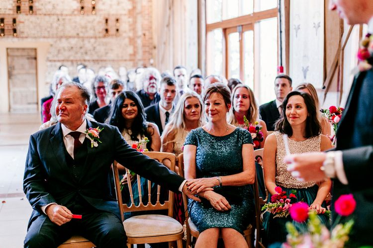 Wedding Ceremony | Colourful Alternative Winter Wedding at Upwaltham Barns, Sussex | Epic Love Story Photography