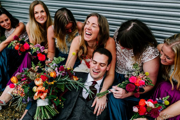 Bridal Party | Bride in Red & White Joanne Fleming Design Wedding Dress | Bridesmaids in Jewel Coloured Skirts & Sequin Top Separates | Colourful Alternative Winter Wedding at Upwaltham Barns, Sussex | Epic Love Story Photography