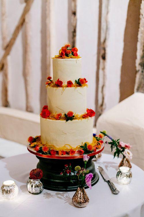 Wedding Cake | Colourful Alternative Winter Wedding at Upwaltham Barns, Sussex | Epic Love Story Photography