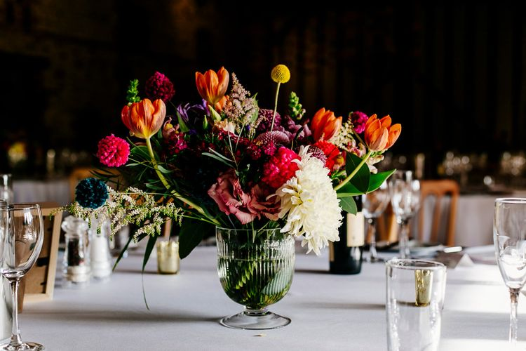 Bright Wedding Floral Arrangement | Colourful Alternative Winter Wedding at Upwaltham Barns, Sussex | Epic Love Story Photography