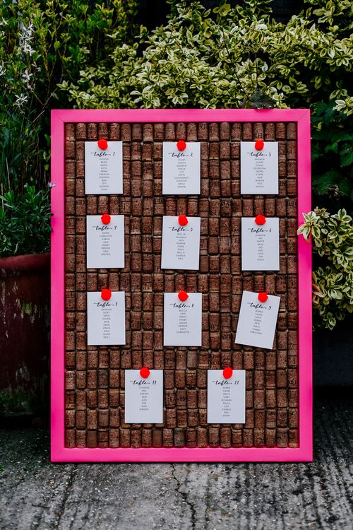 Table Plan | Colourful Alternative Winter Wedding at Upwaltham Barns, Sussex | Epic Love Story Photography