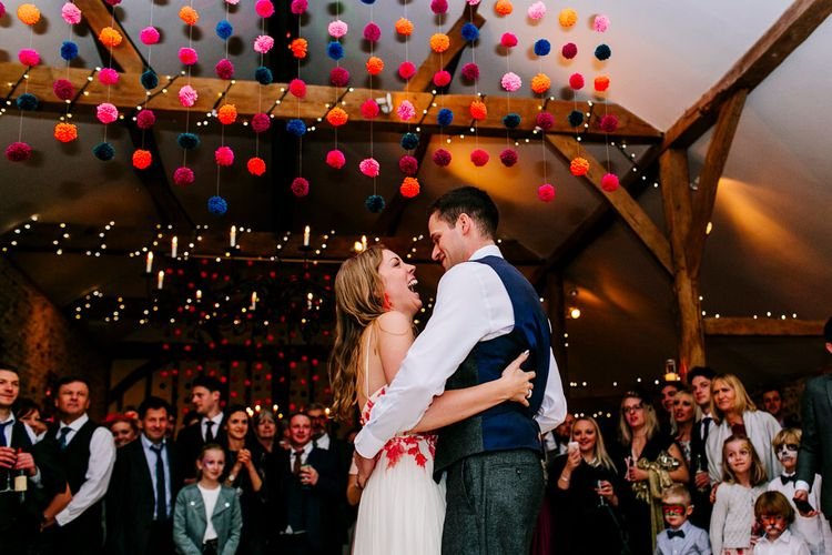First Dance | Bride in Red & White Joanne Fleming Design Wedding Dress | Groom in Suit Supply Suit | Colourful Alternative Winter Wedding at Upwaltham Barns, Sussex | Epic Love Story Photography