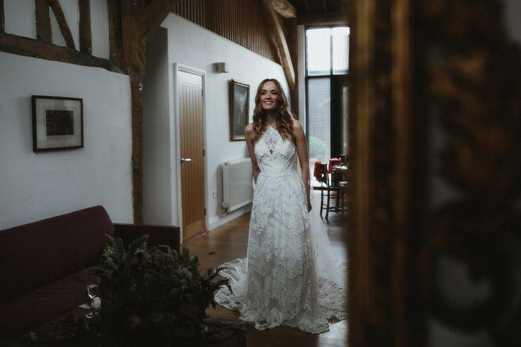 Bride in Halteneck Rue De Seine Wedding Dress