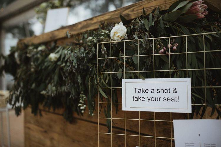 Take A Shot & Take Your Seat Wedding Sign