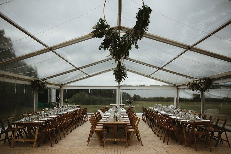 Clear Span Marquee Wedding Reception with Hanging Hoop Decor