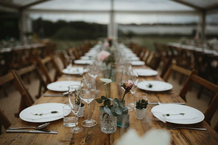Wedding Centrepiece Flowers in Clear Span Marquee
