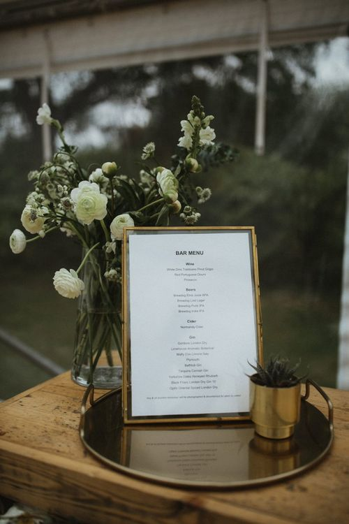 Framed Wedding Bar Menu on Gold Platter